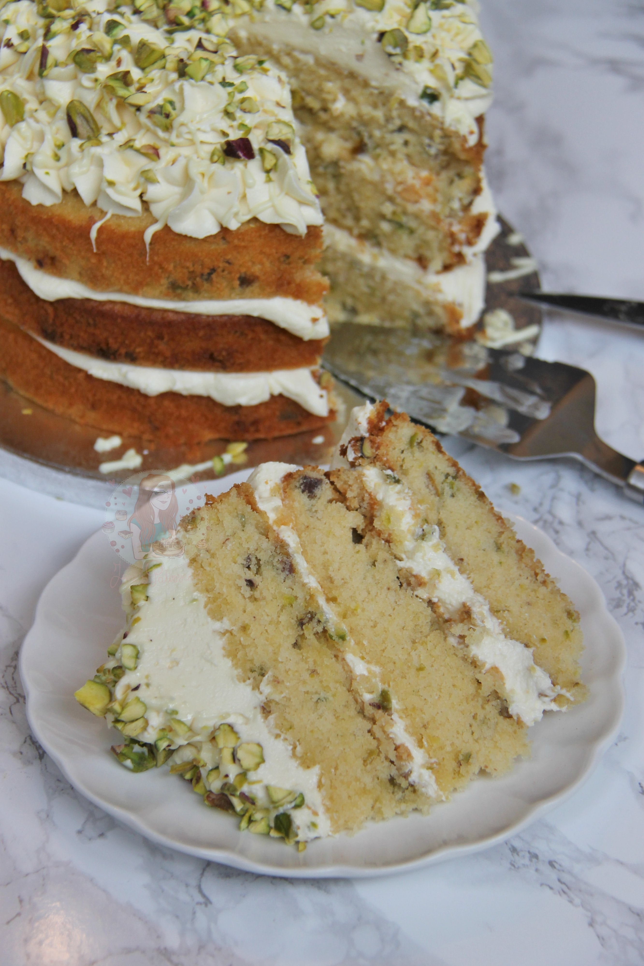 White Chocolate And Pistachio Cake Janes Patisserie