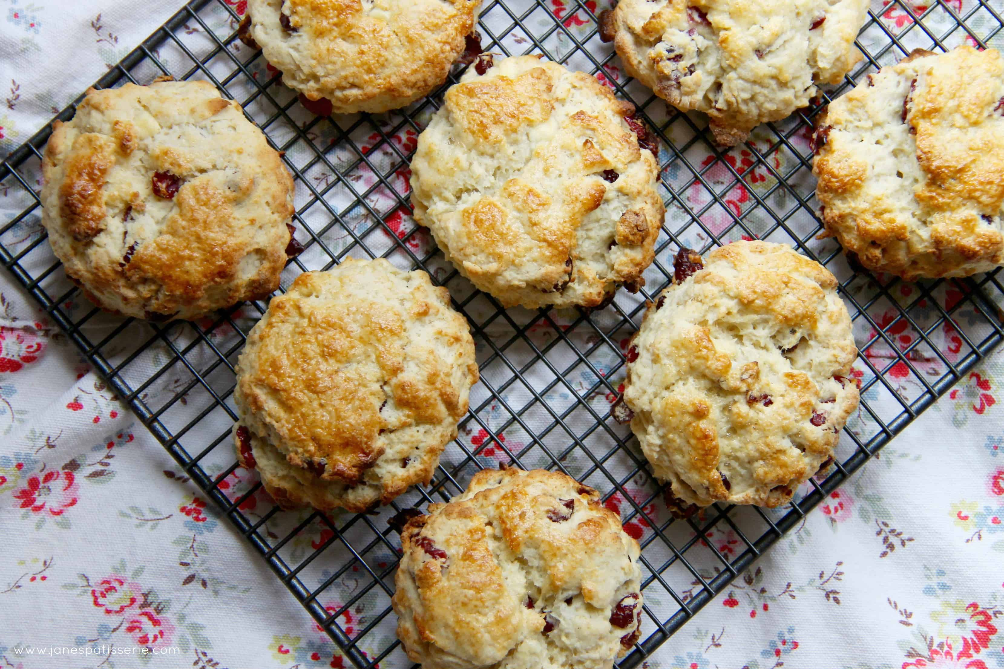 White Chocolate And Cranberry Scones Janes Patisserie