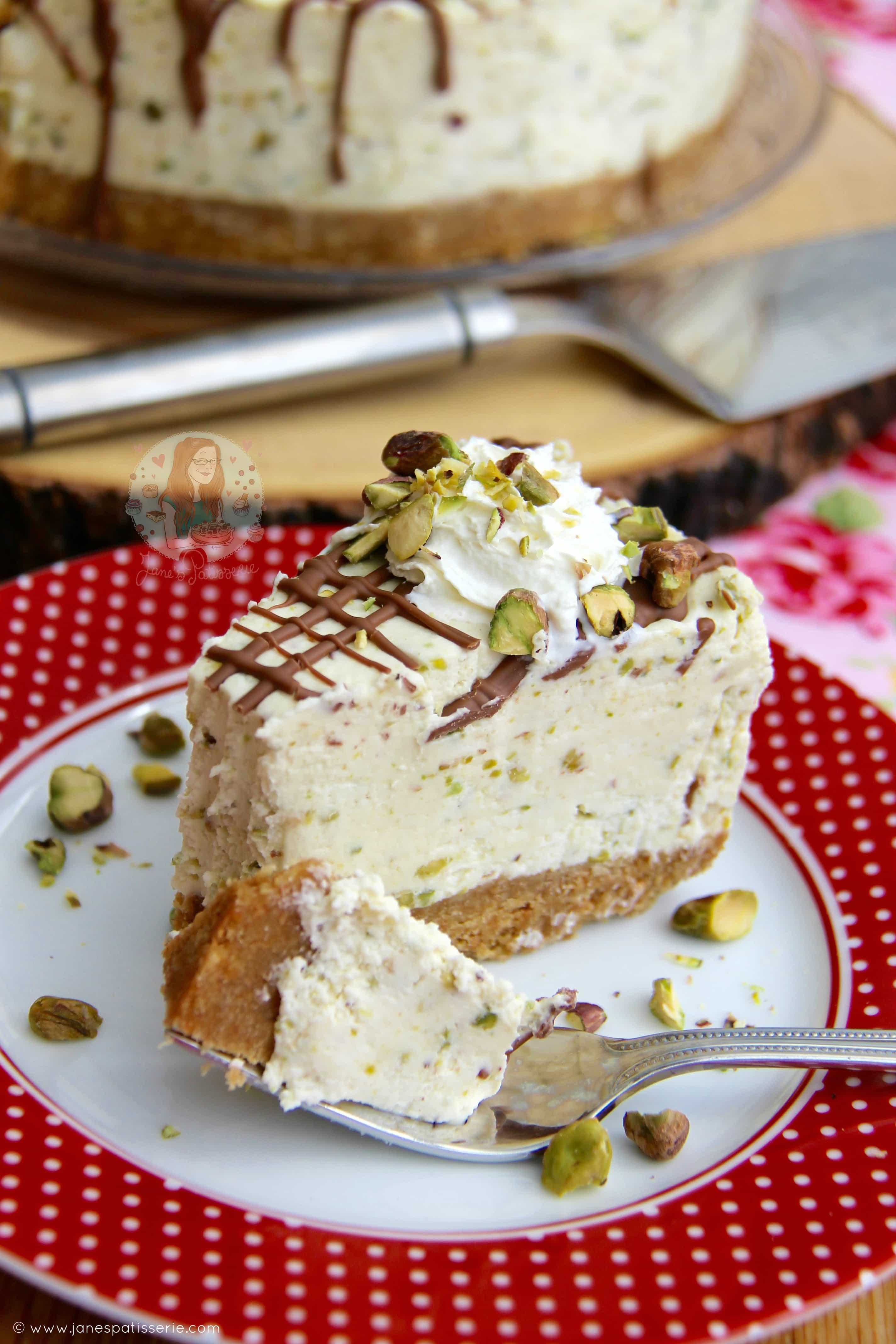 No Bake White Chocolate Pistachio Cheesecake Janes